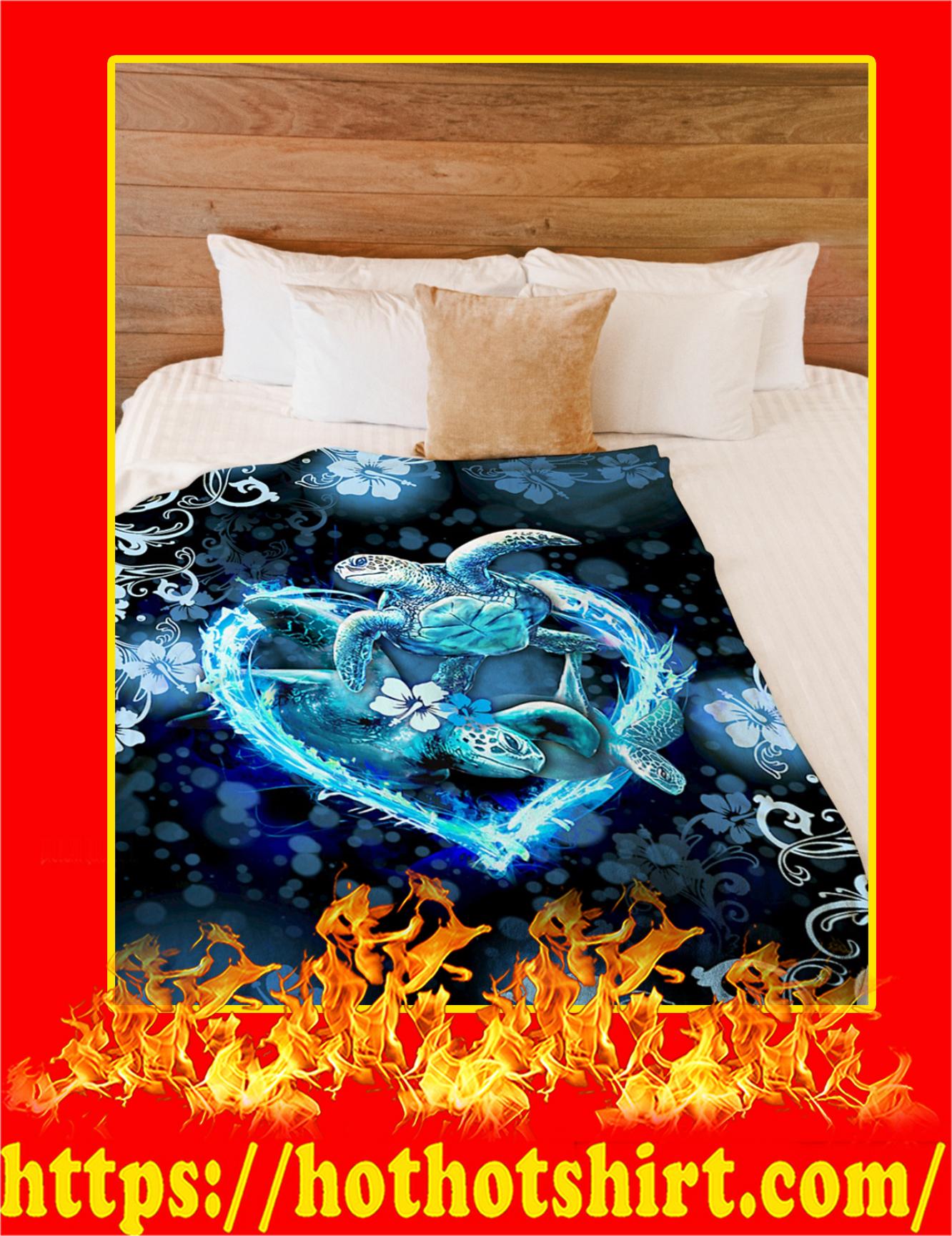 I Love Turtles Flower Heart Blanket - Pic 1