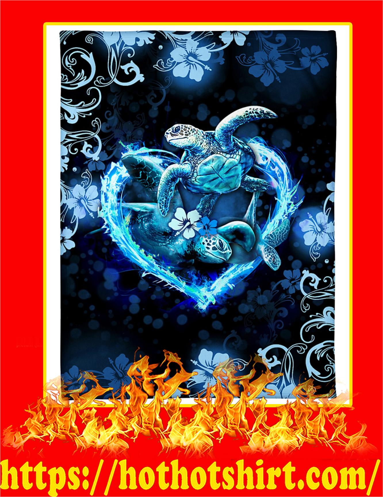 I Love Turtles Flower Heart Blanket - Pic 3