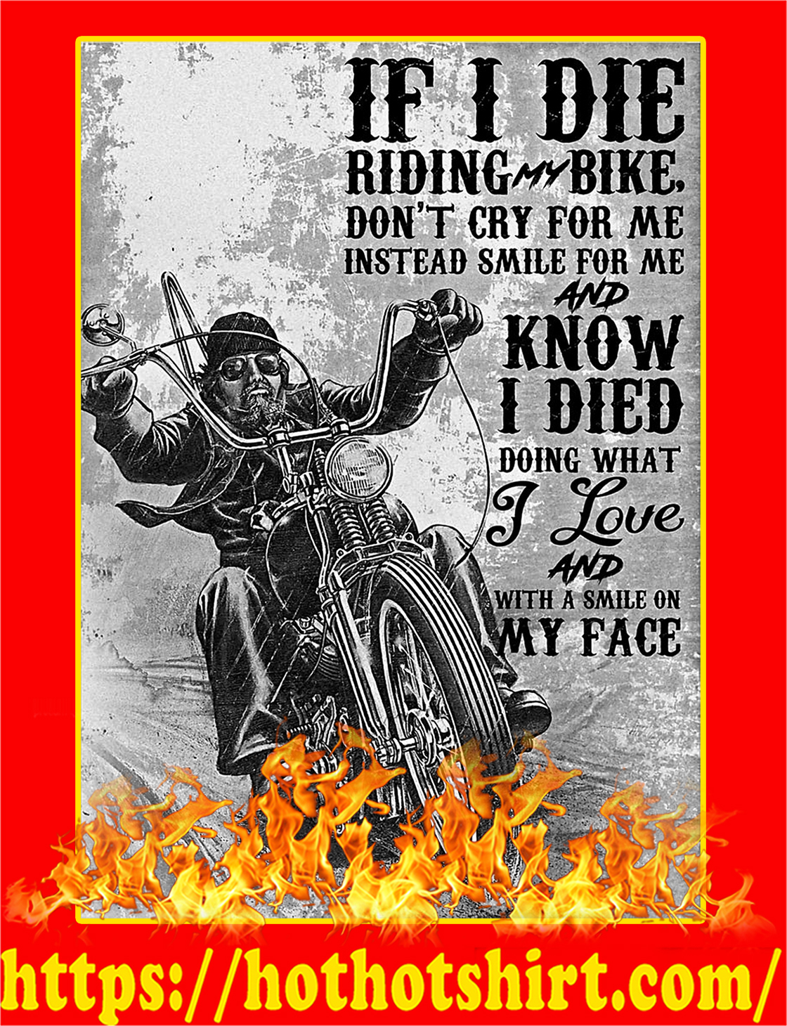 If I Die Riding Bike Don't Cry For Me Poster - A3
