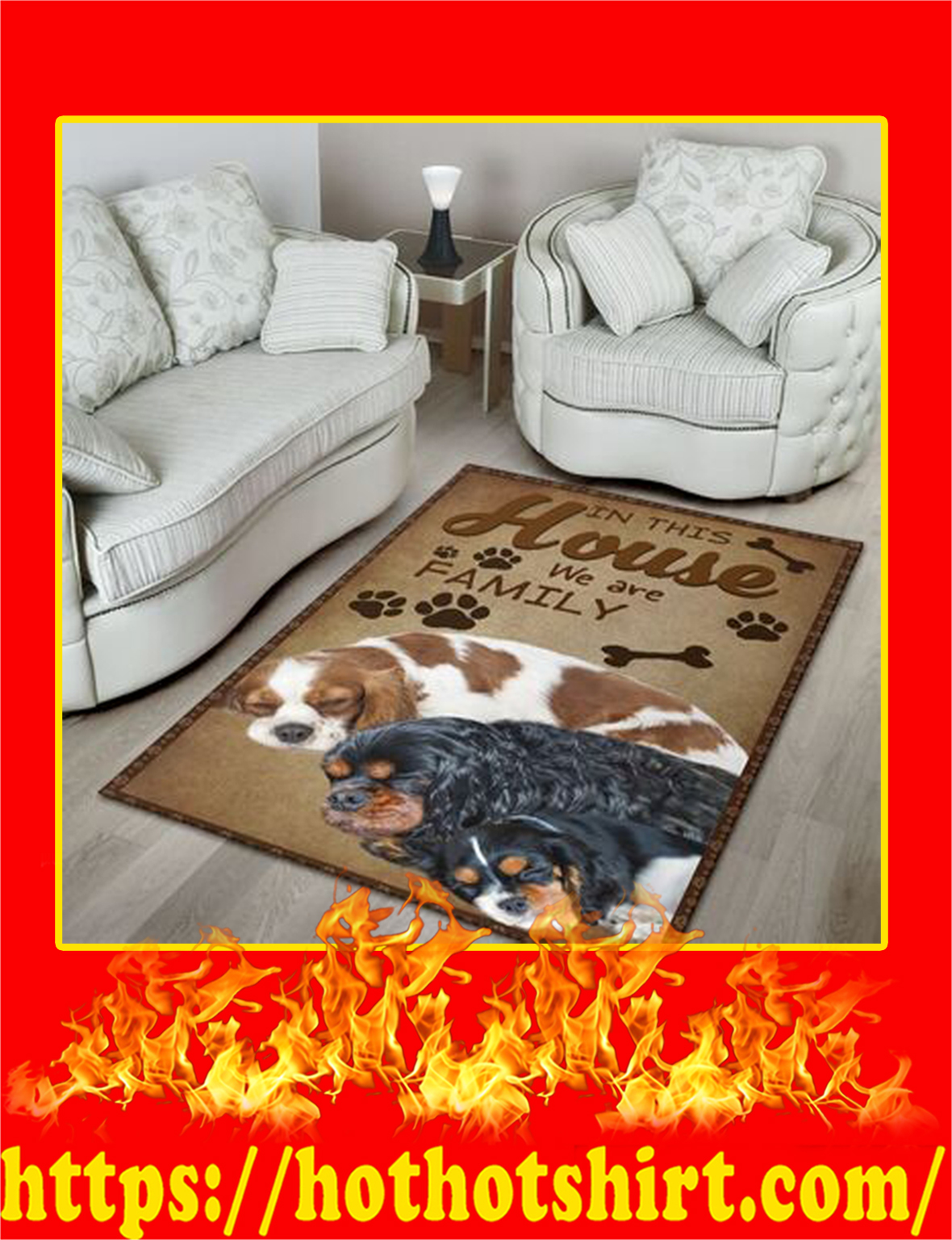 In This House We Are Family Cavalier King Charles Spaniel Rug- large