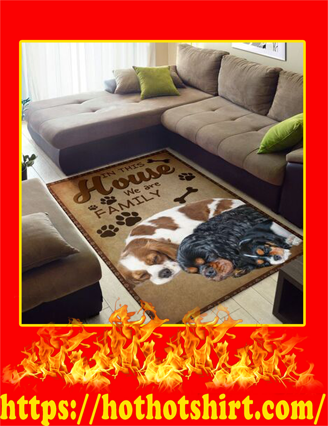 In This House We Are Family Cavalier King Charles Spaniel Rug- small
