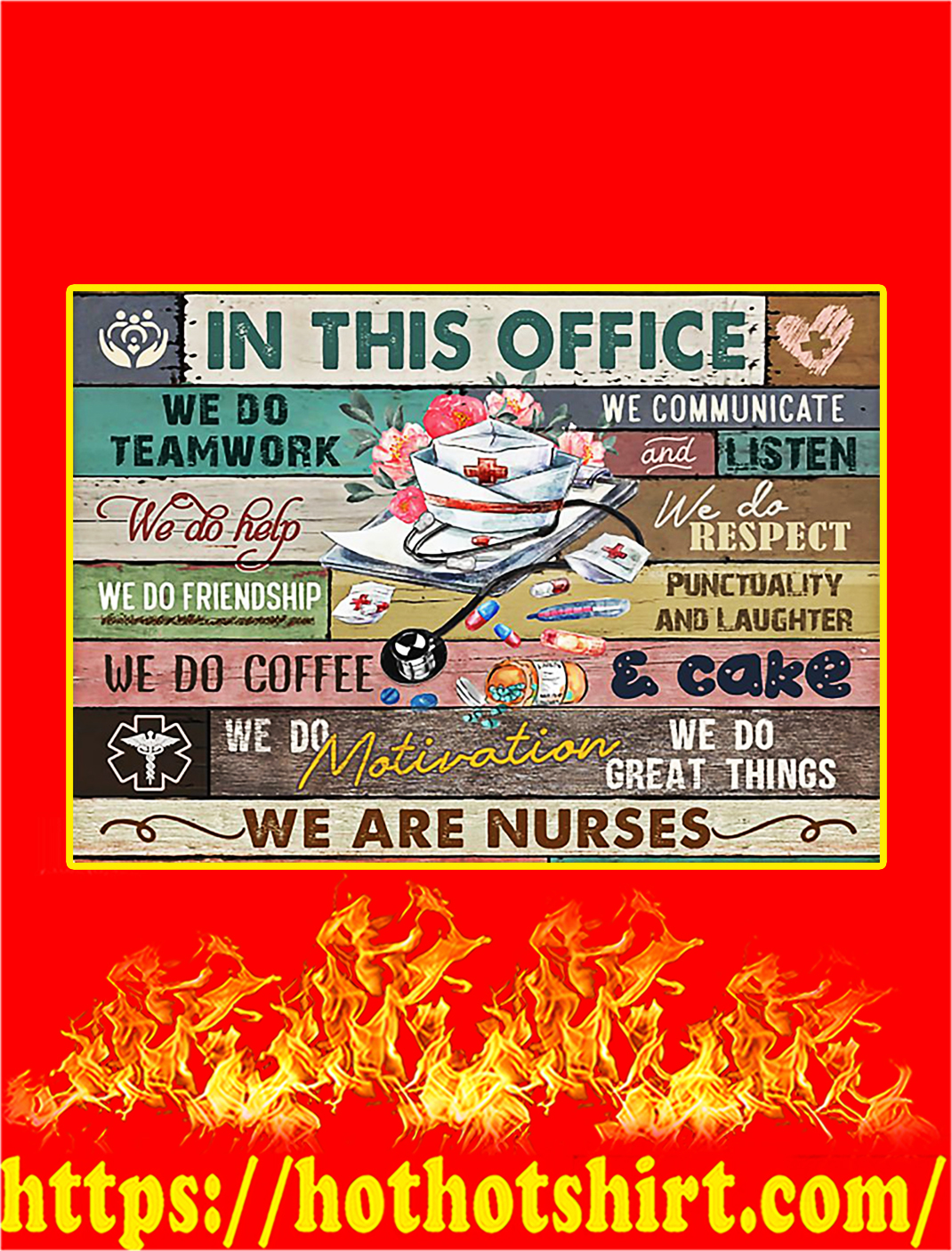 In This Office We Are Nurses Poster - A4