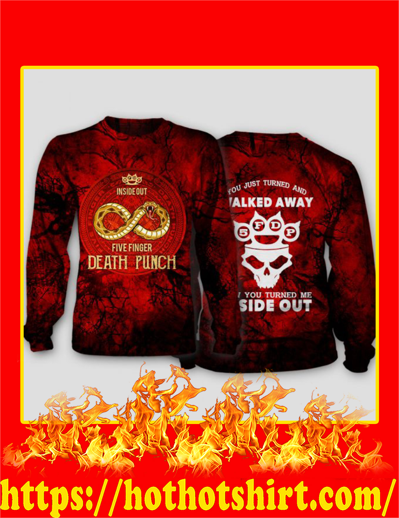 Inside Out Five Finger Death Punch 3D Long Sleeved Shirt