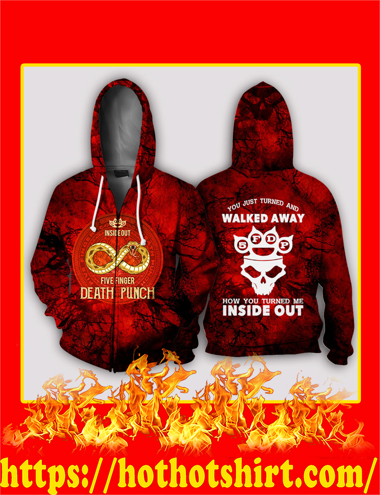 Inside Out Five Finger Death Punch 3D Zip Hoodie