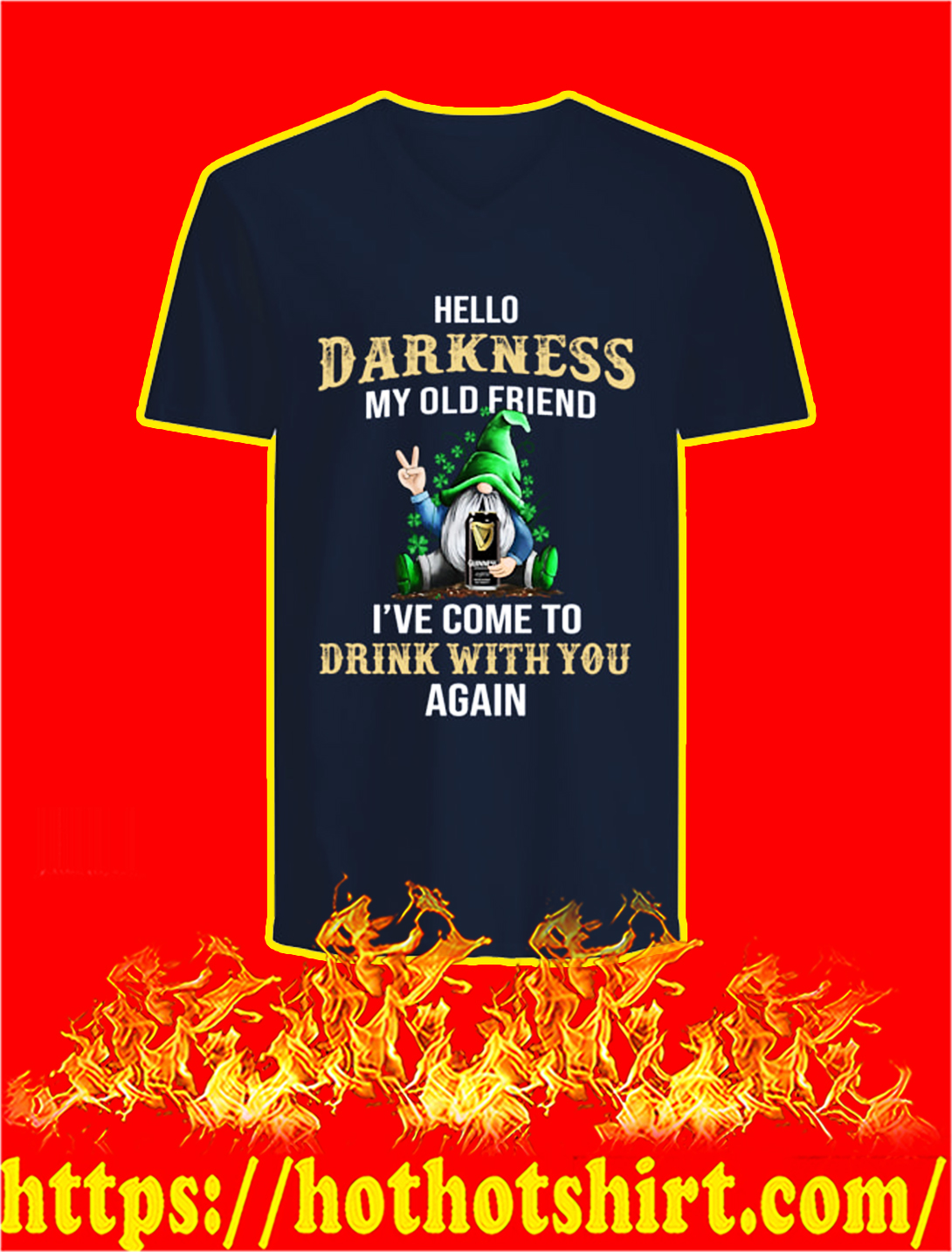 Irish Gnome Guinness Hello Darkness My Old Friend St Patrick's Day v-neck