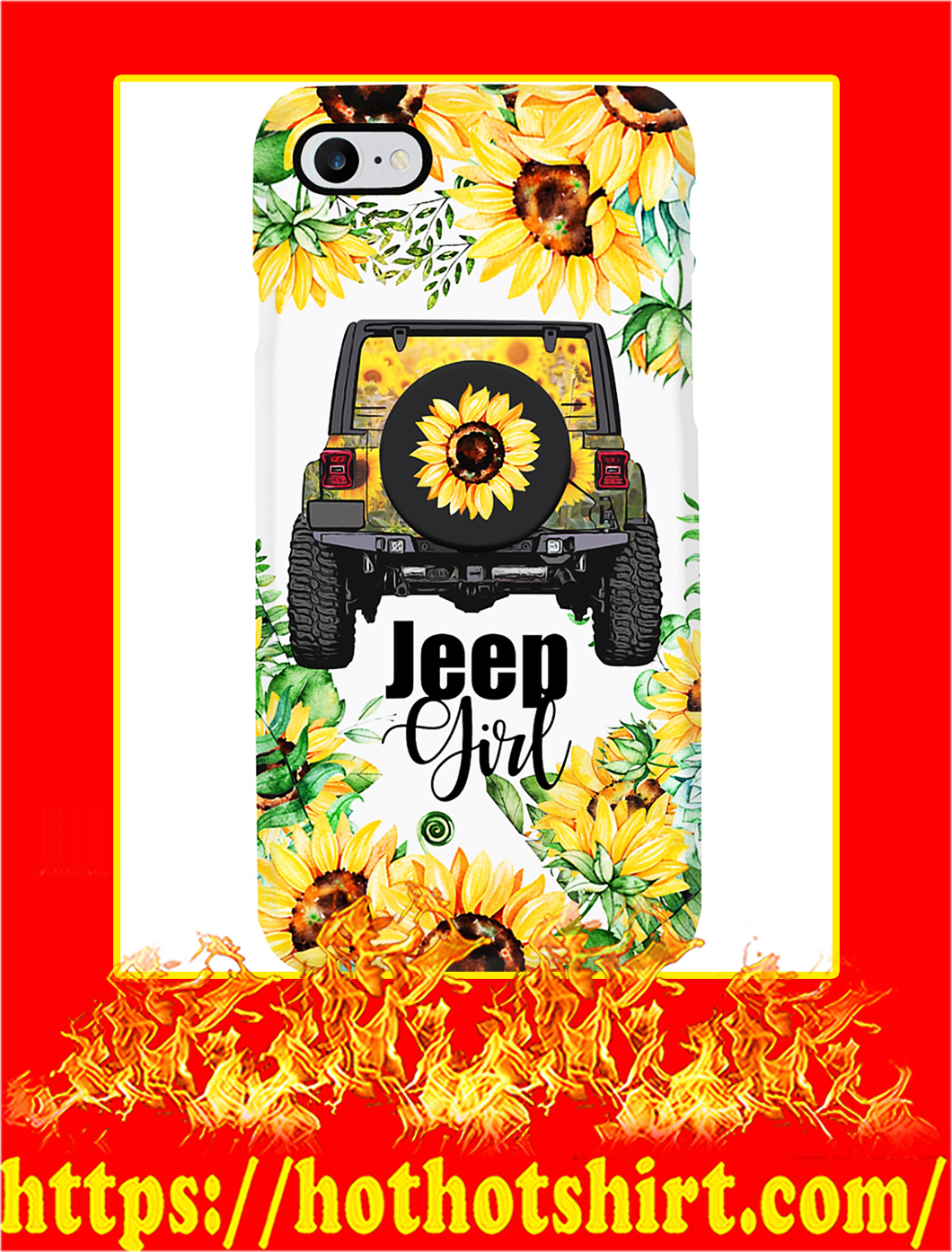 Jeep Girl Sunflower Phone Case- iphone 8