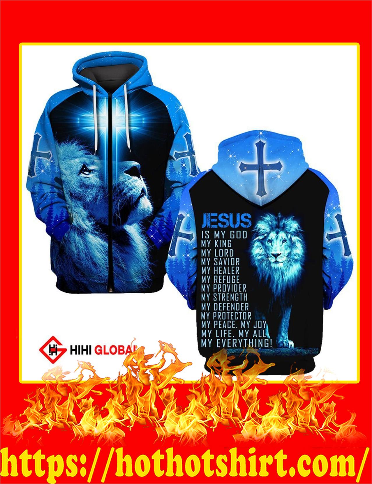 Jesus Is My God My King My Lord My Everythings Blue Lion All Over Printed Zip Hoodie