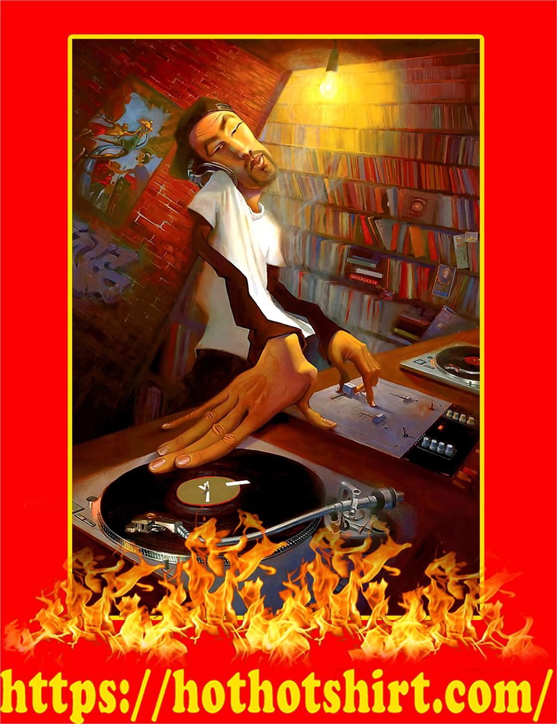 Justin Bua DJ Man Spinning Poster - A3