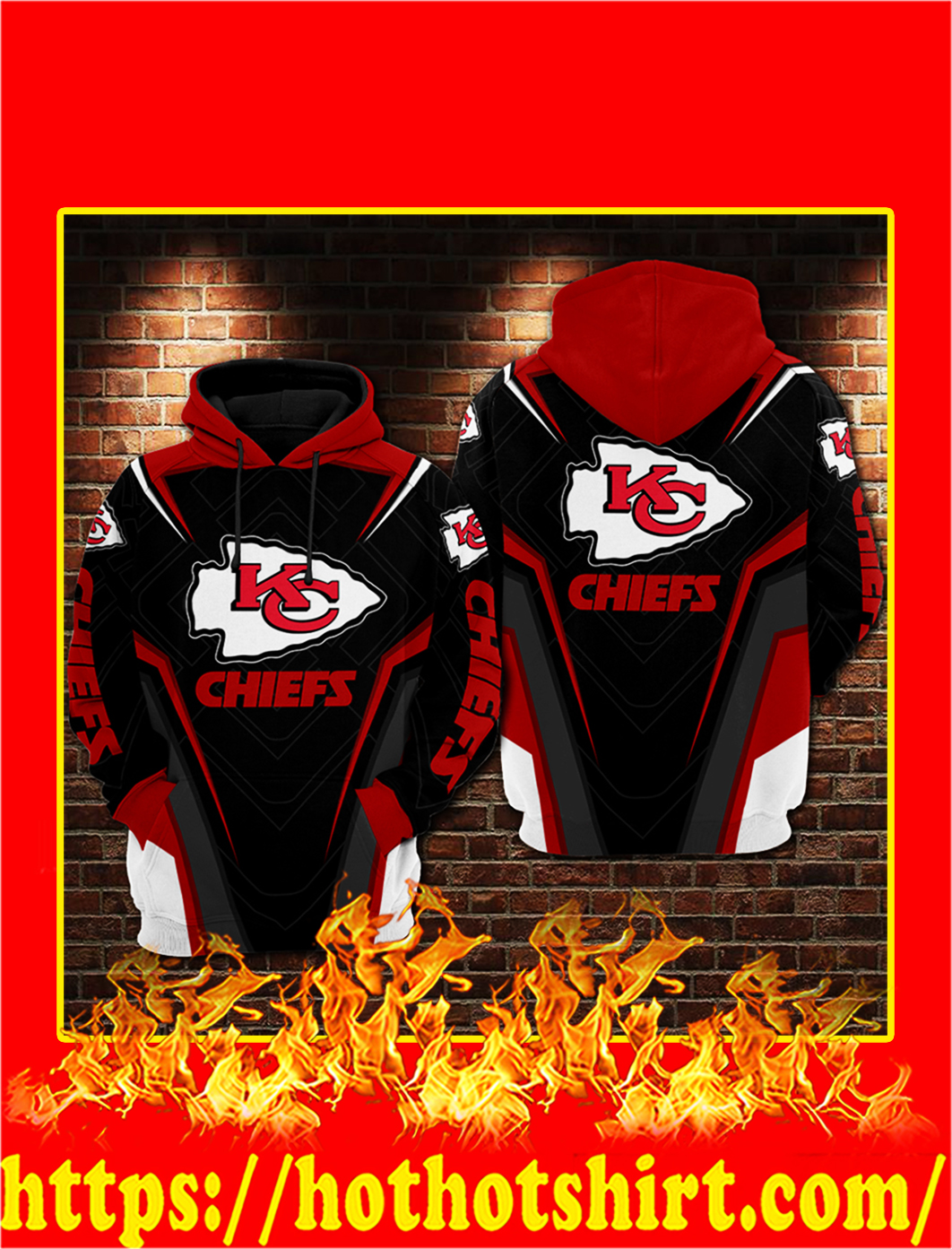 Kansas City Chiefs GM Style 3D Hoodie - L