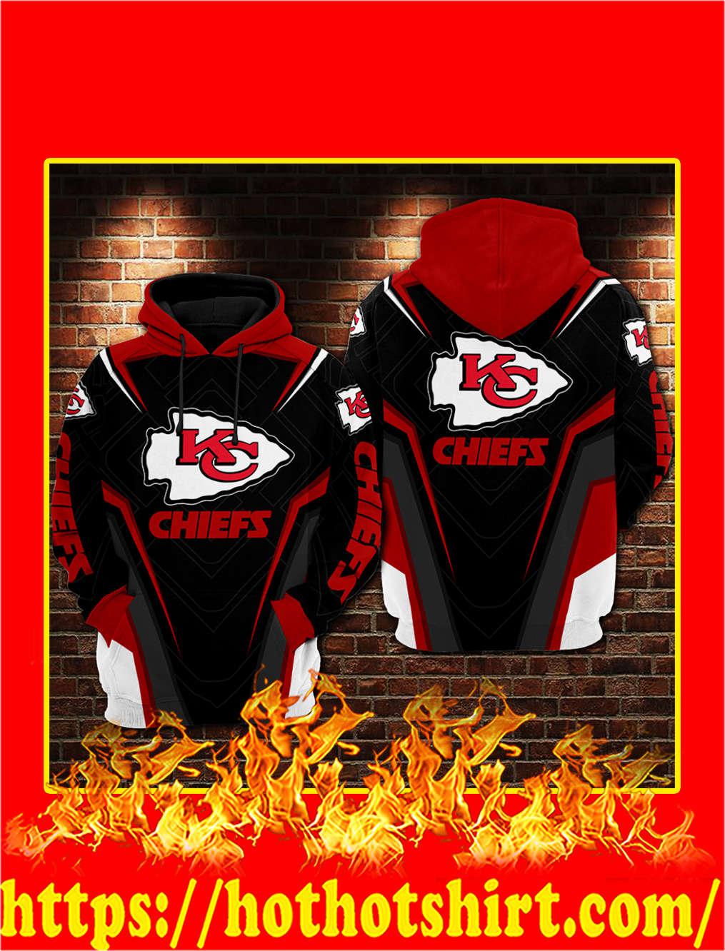 Kansas City Chiefs GM Style 3D Hoodie - S