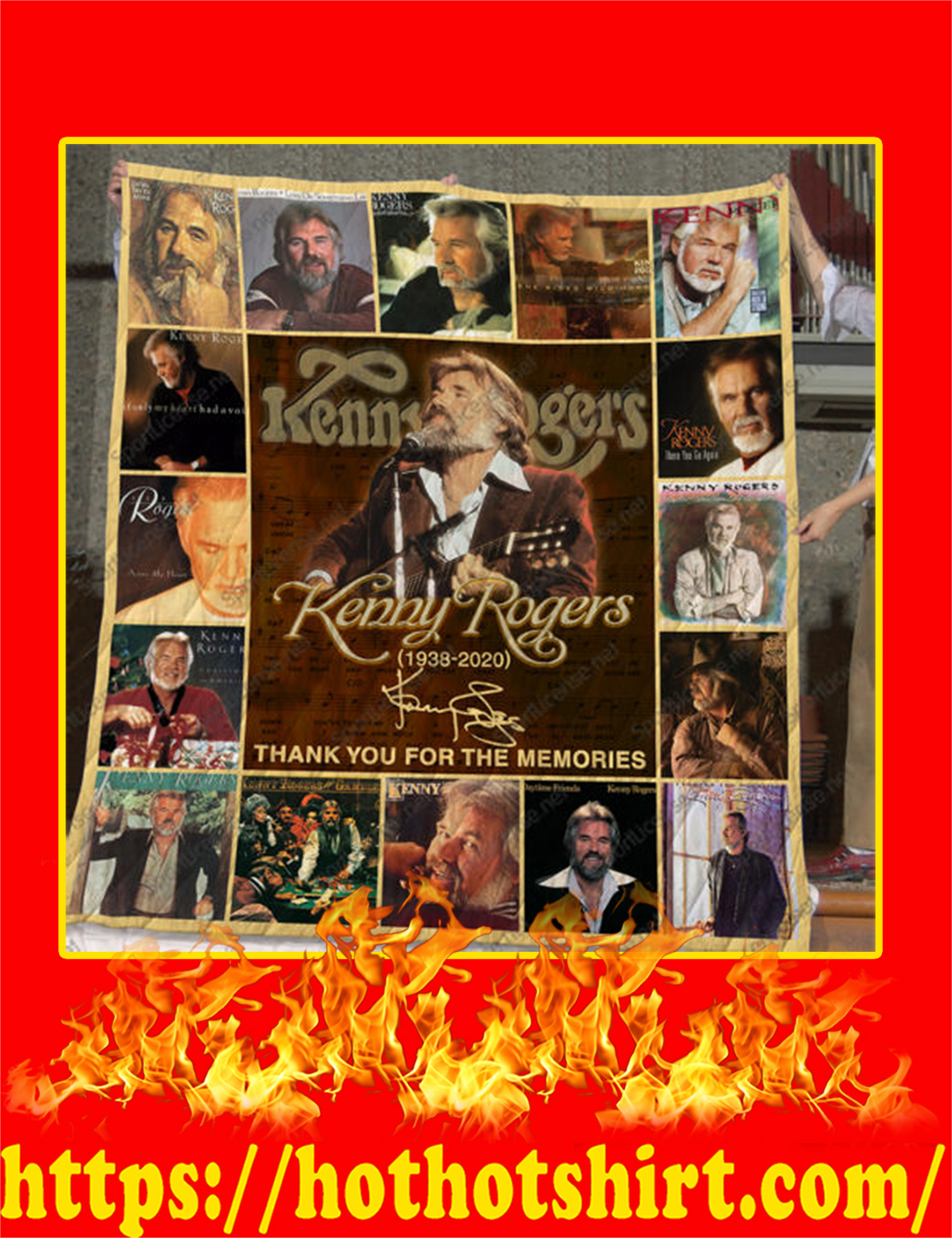Kenny Rogers Thank You For The Memories Quilt Blanket - queen
