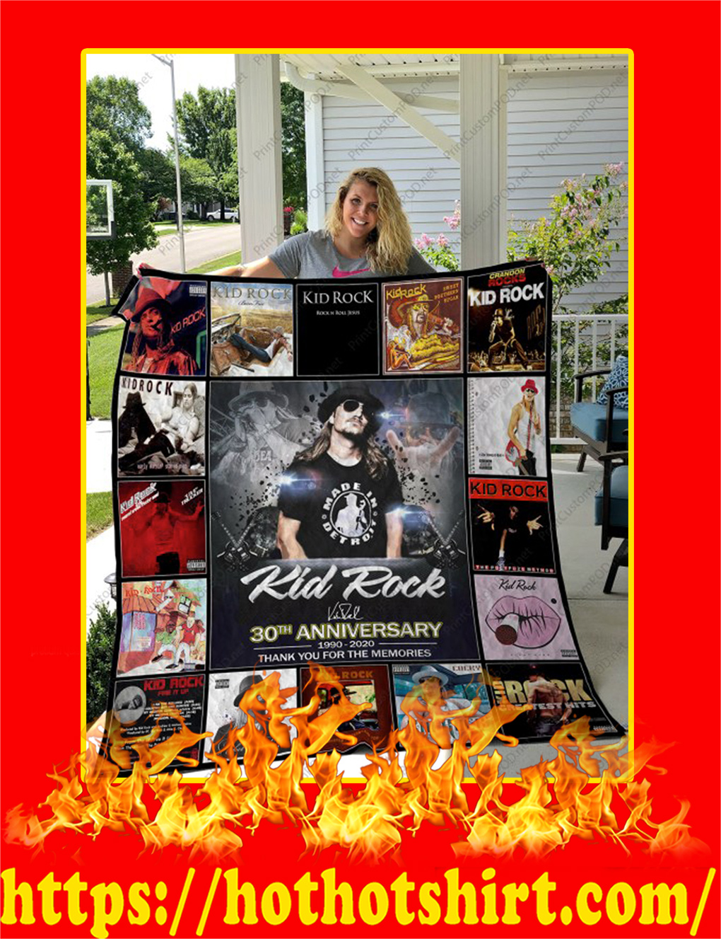 Kid Rock 30th Anniversary Thank You For The Memories Quilt Blanket - twin