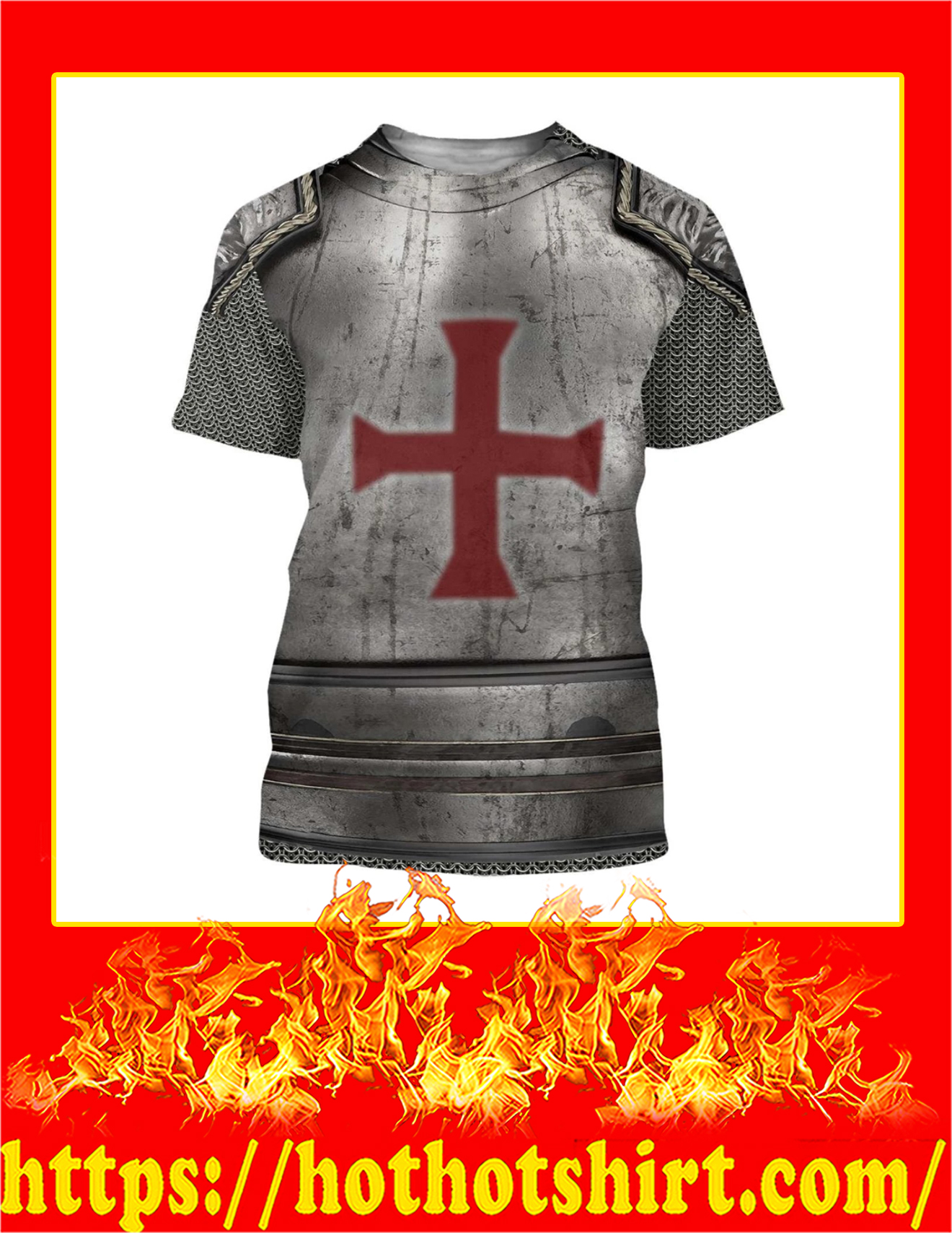 Knight Templar 3D All Over Printed T-Shirt