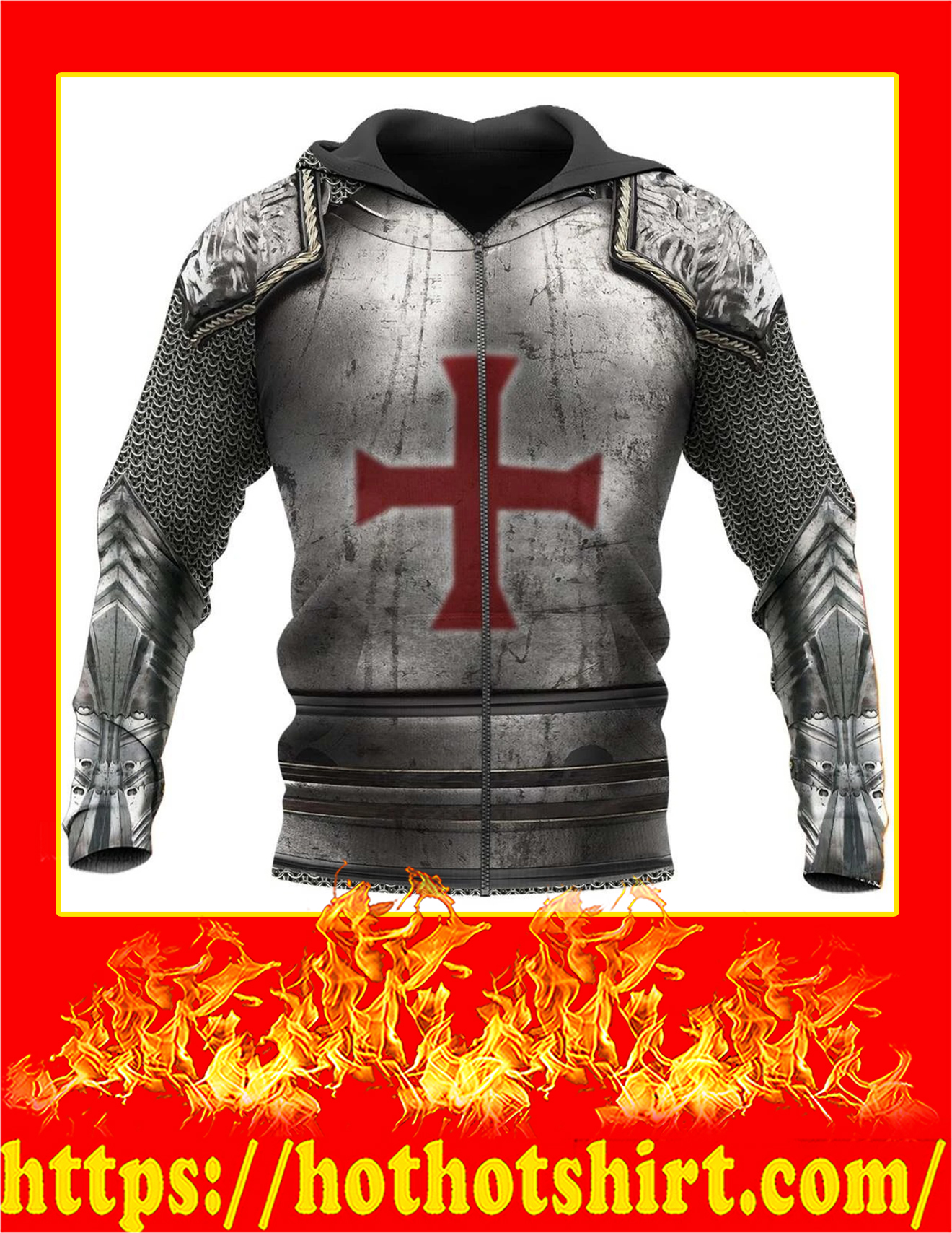 Knight Templar 3D All Over Printed Zip Hoodie