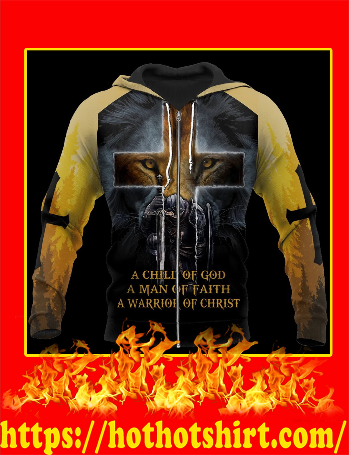 Knight Templar Jesus Lion A Child Of God 3D All Over Printed zip hoodie