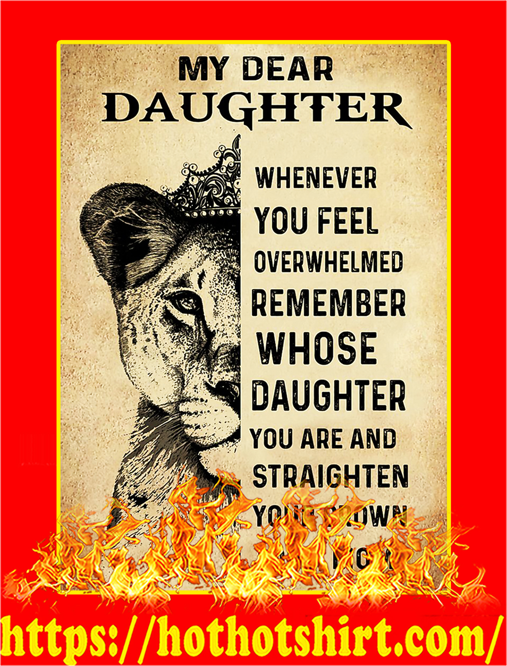 Lion My Dear Daughter Mom Poster - A4