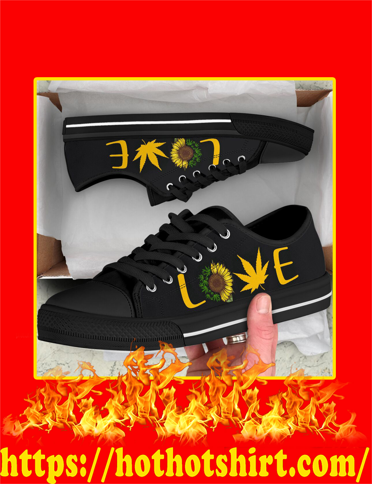 Love Cannabis Sunflower Low Top Shoes - Pic 1