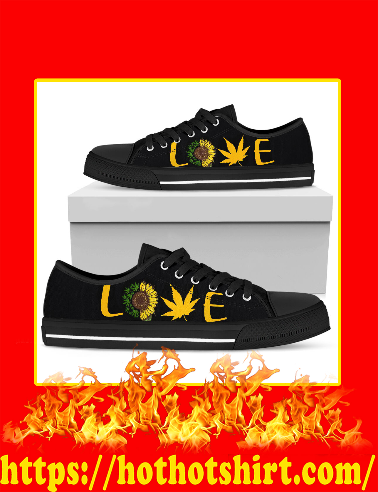 Love Cannabis Sunflower Low Top Shoes - Pic 2