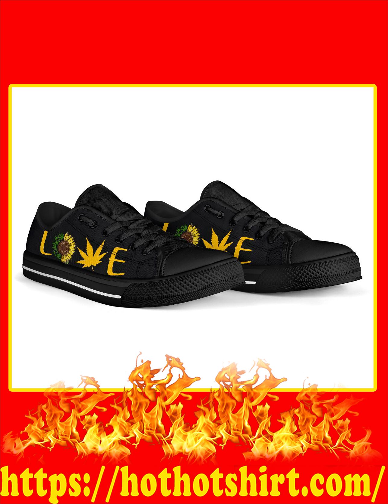 Love Cannabis Sunflower Low Top Shoes - Pic 3
