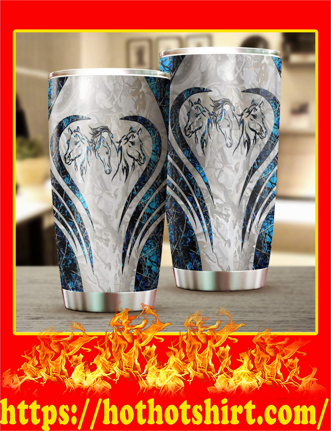 Love Horse Camo Stainless Steel Tumbler - Pic 2