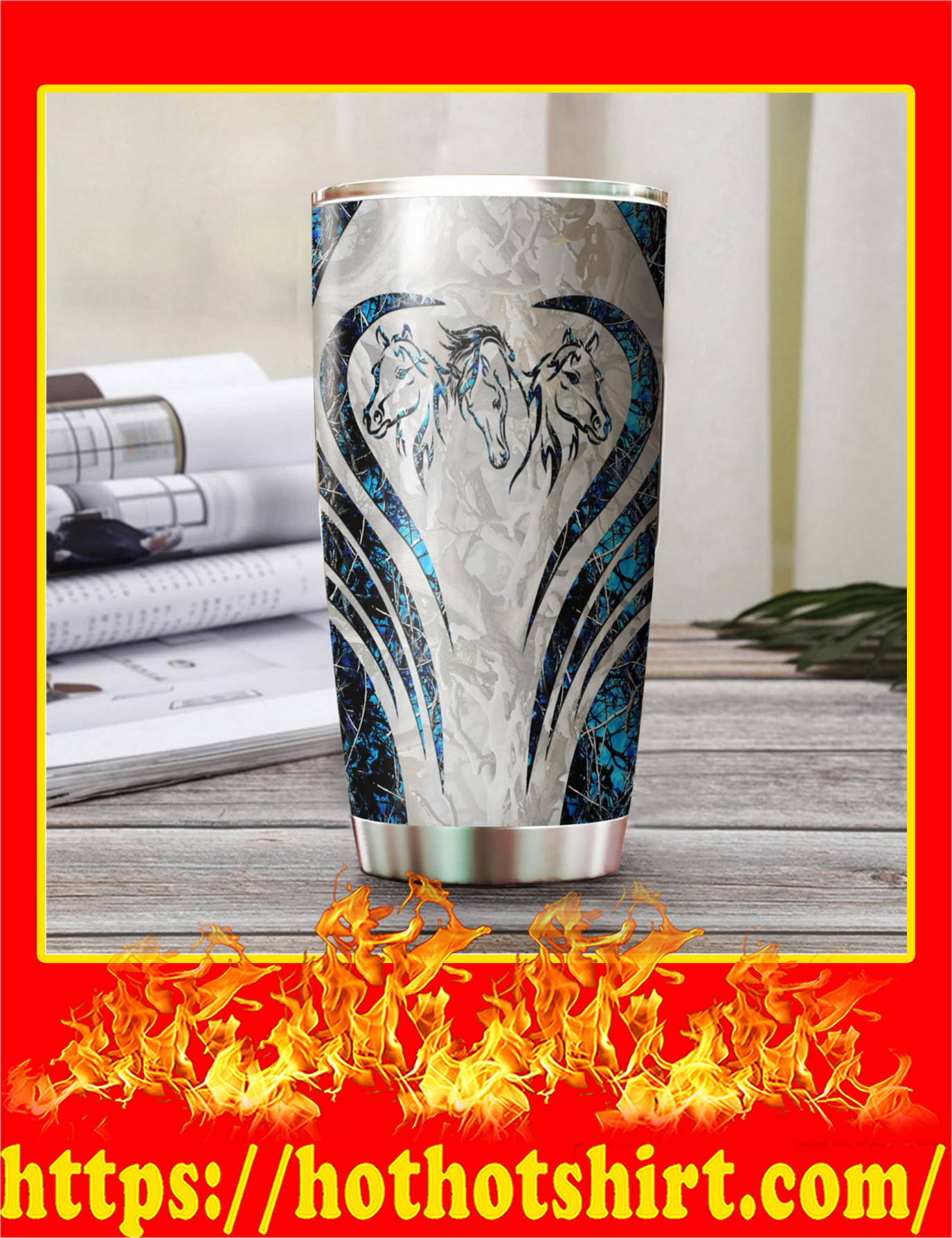 Love Horse Camo Stainless Steel Tumbler - Pic 3