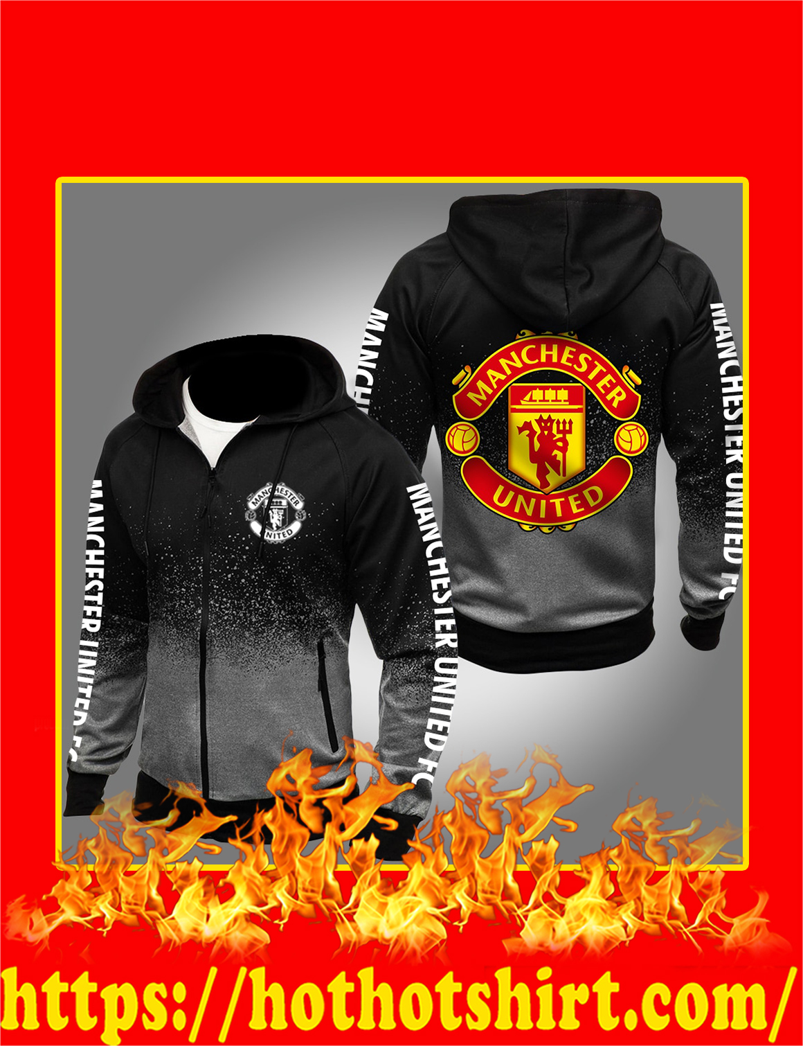 Manchester United FC Gradient Hoodie- gray