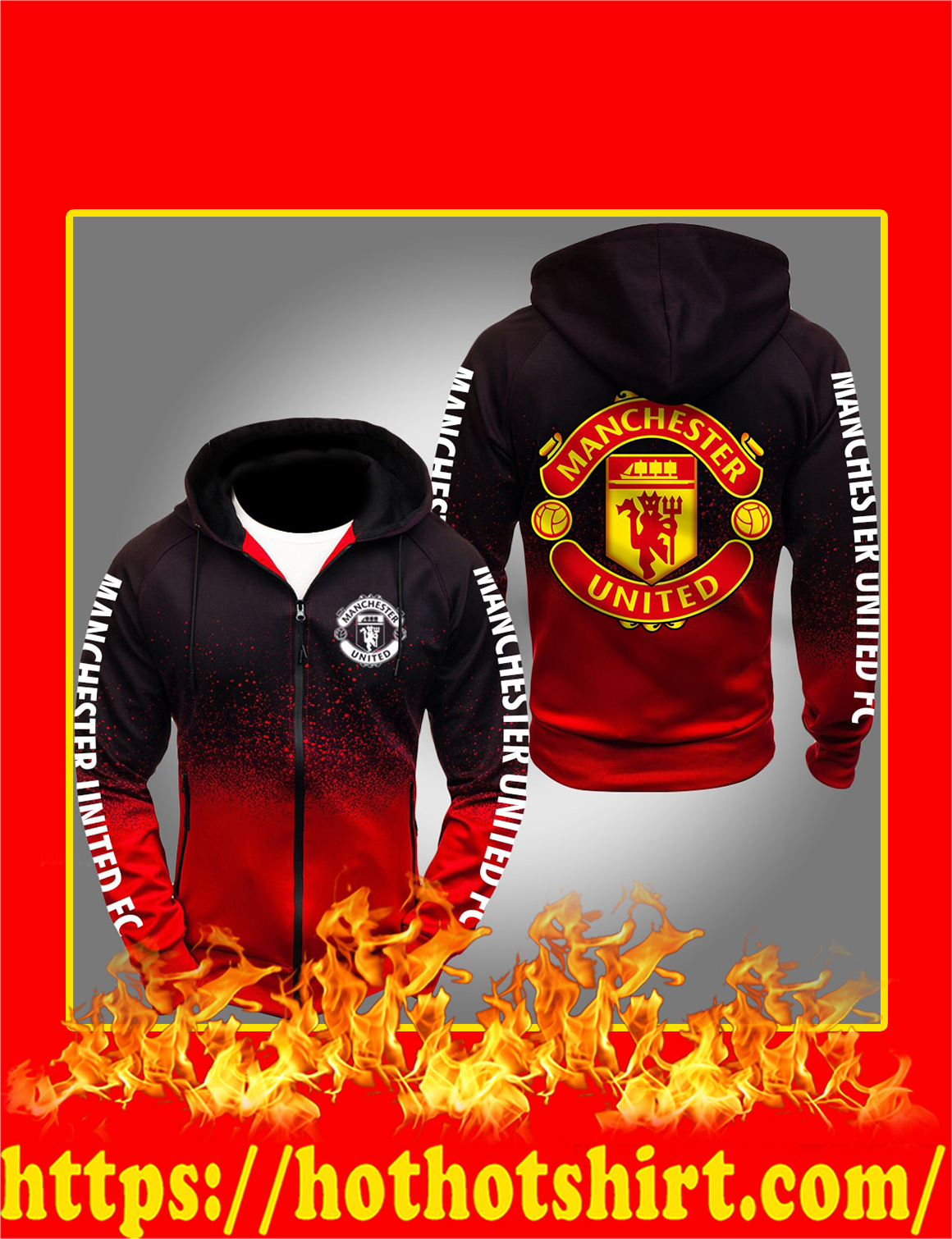 Manchester United FC Gradient Hoodie - red