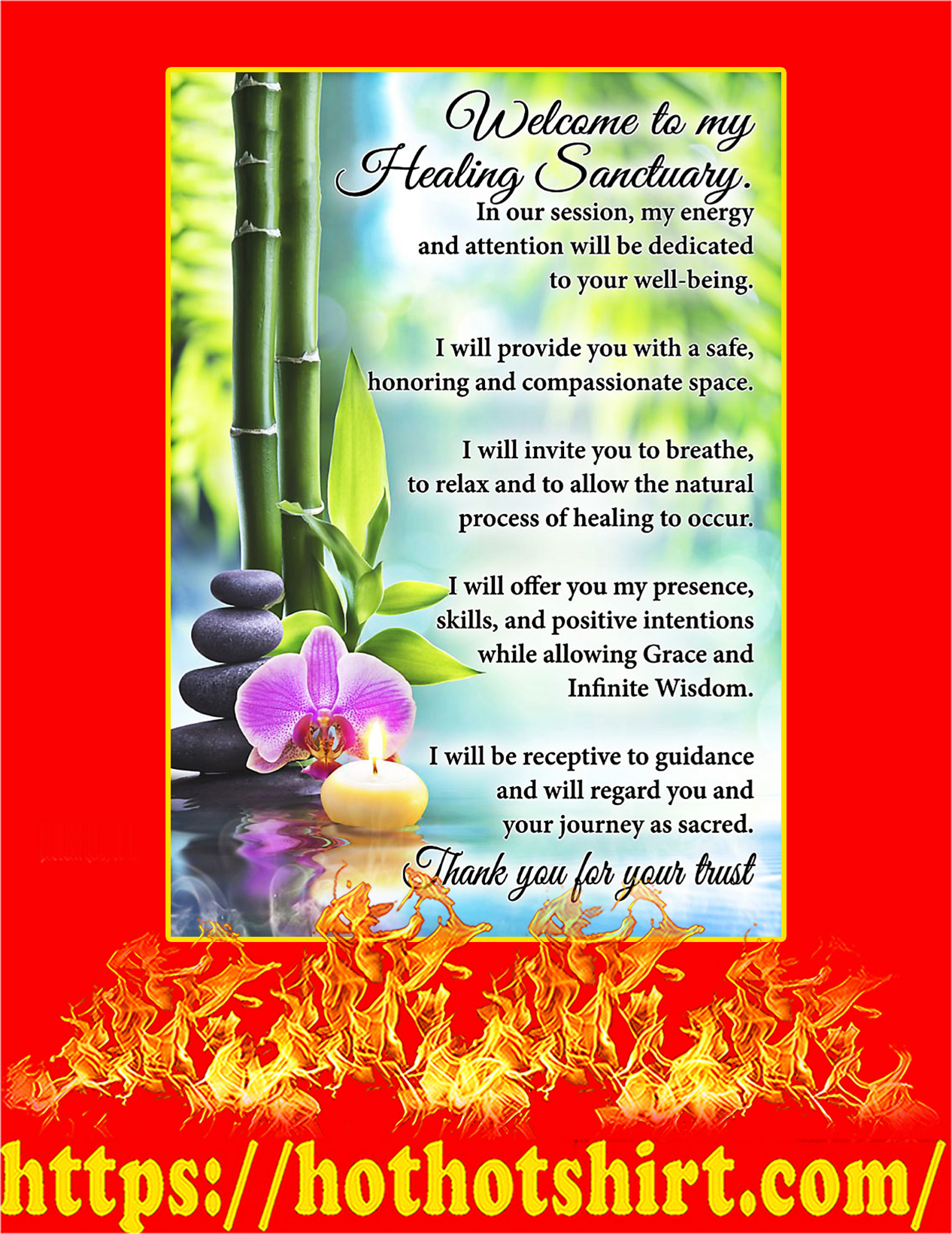 Massage therapist Welcome to my healing sanctuary poster