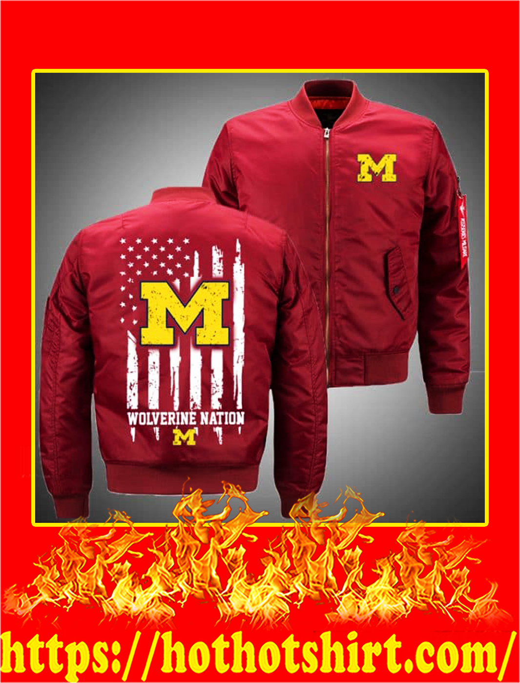 Michigan Wolverines Bomber- red
