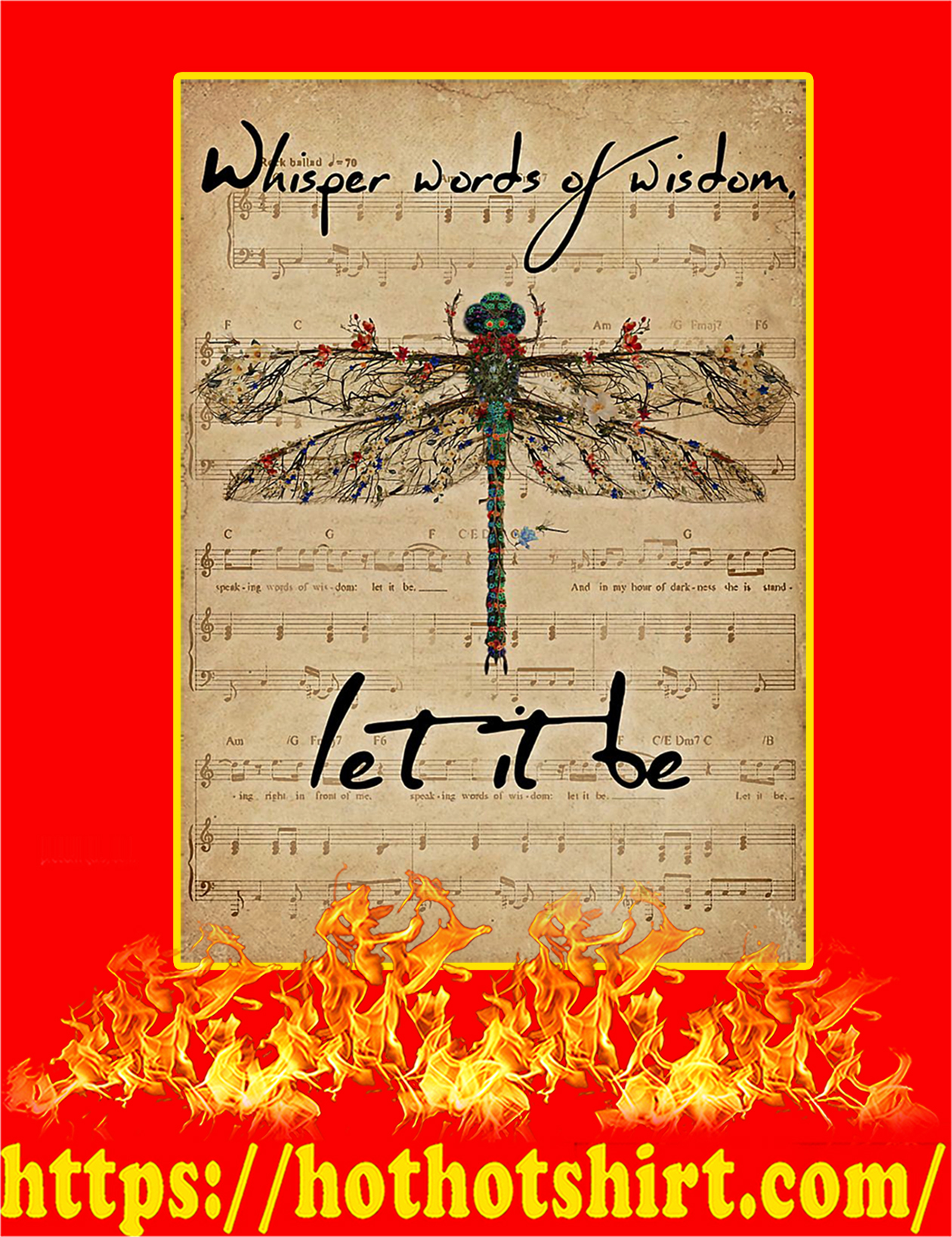 Music Sheet Let It Be Dragonfly Poster - A2