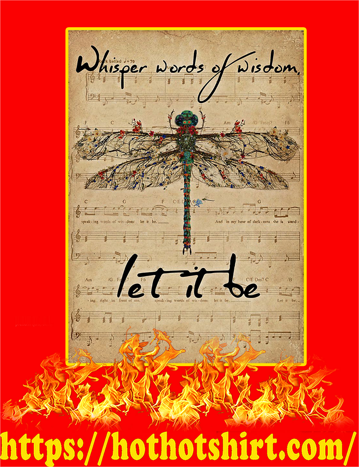 Music Sheet Let It Be Dragonfly Poster - A3