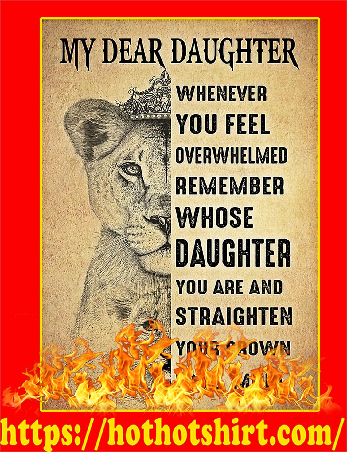 My Dear Daughter Lion Poster - A3