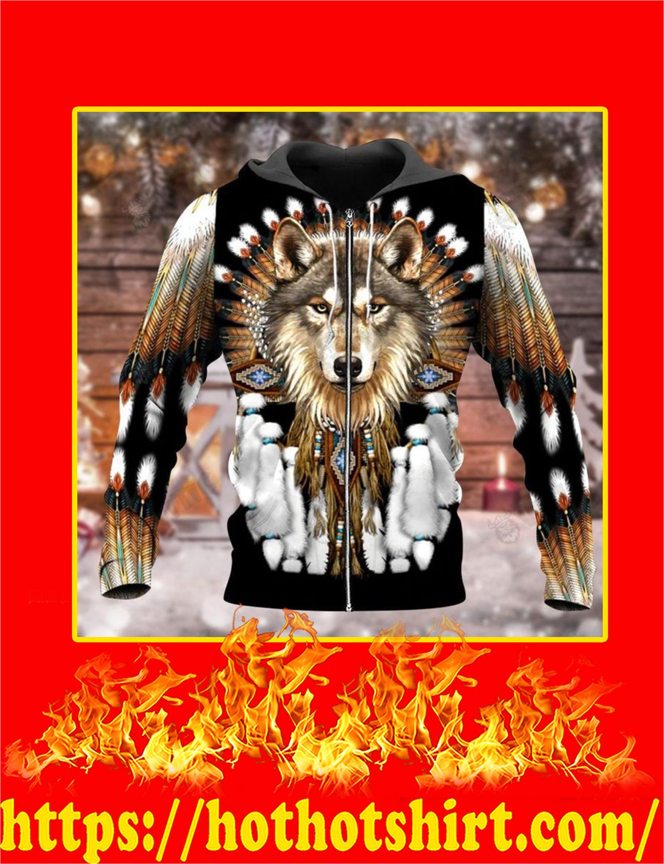Native Wolf 3d Zip Hoodie