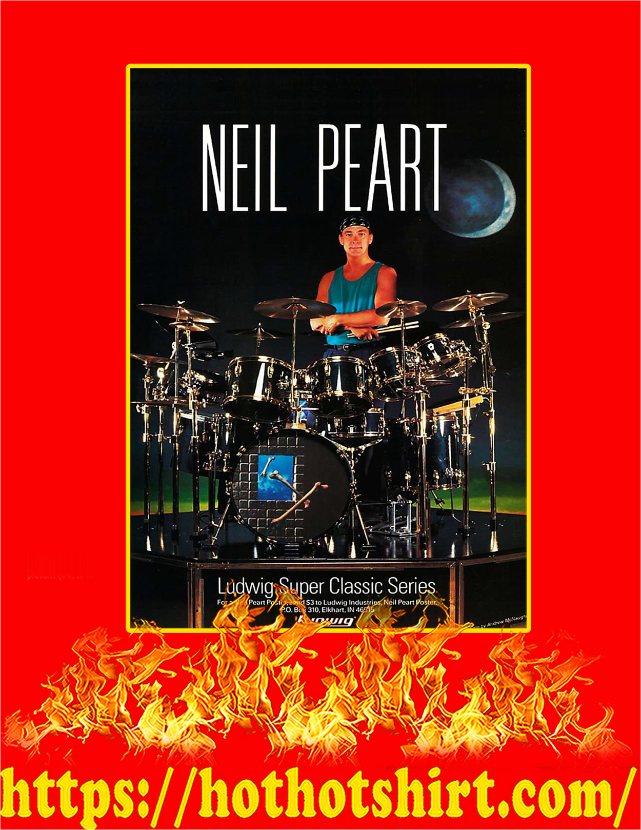 Neil Peart Ludwig Super Classic Series Poster - A4