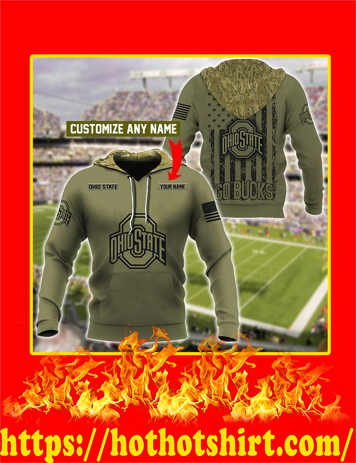 Ohio State Buckeyes Customize Custom Name 3d Hoodie - Detail