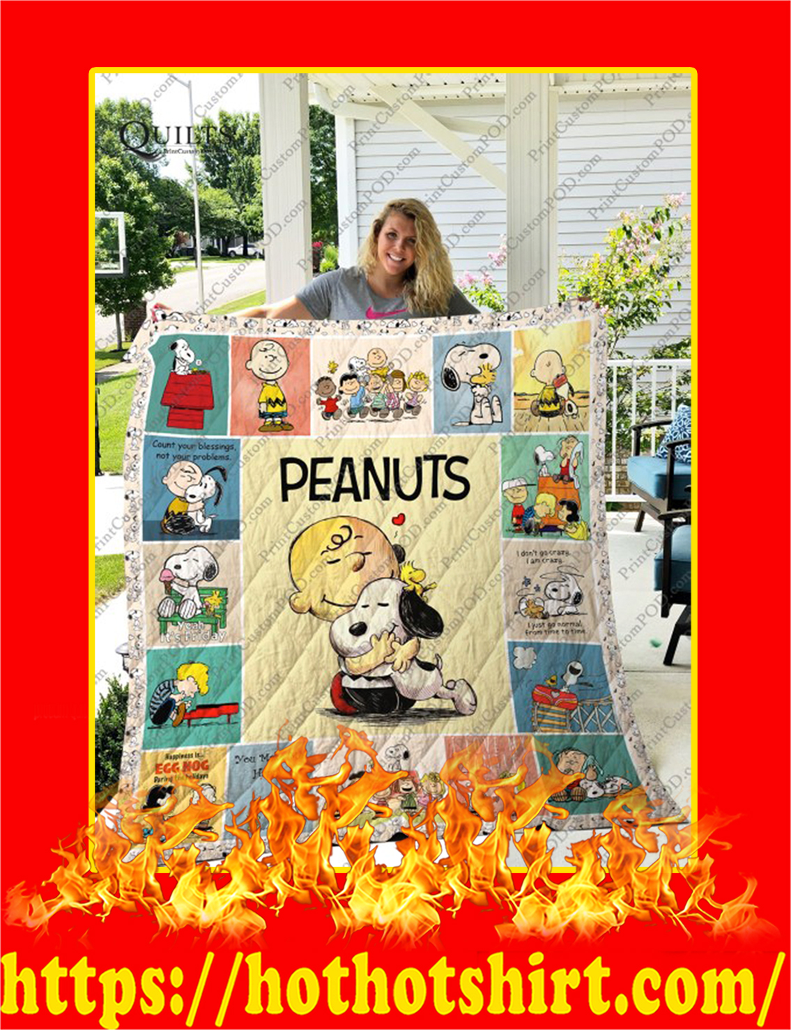 Peanuts Snoopy Quilt Blanket - king