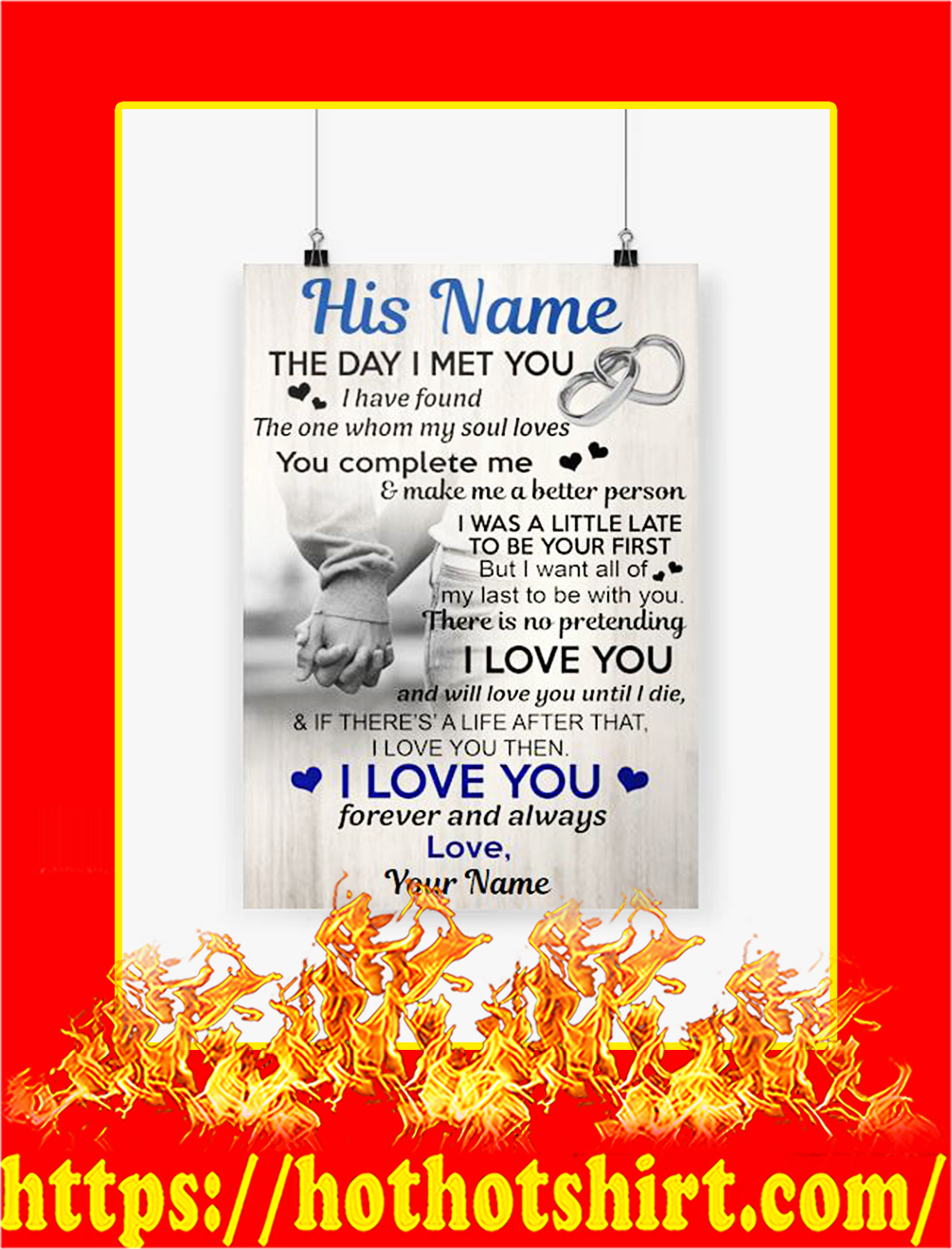 Personalize The Day I Met You Custom Name Poster - A3