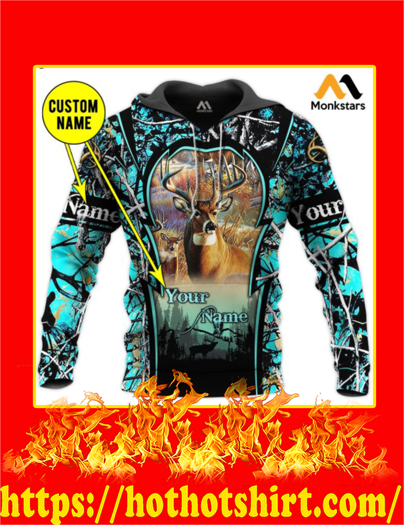Personalized Custom Name Deer Hunting Camo 3D All Over Printed Hoodie