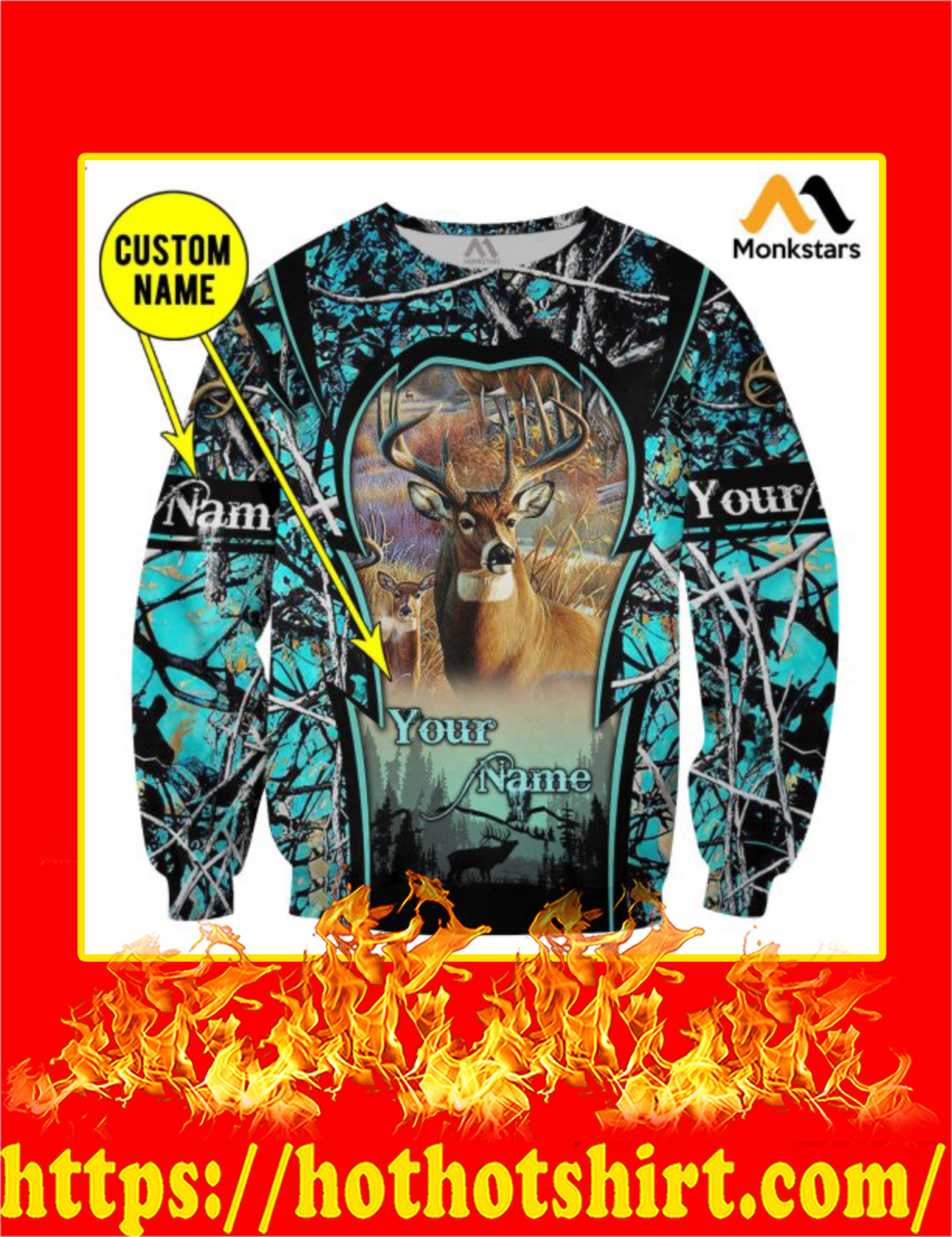 Personalized Custom Name Deer Hunting Camo 3D All Over Printed Sweatshirt