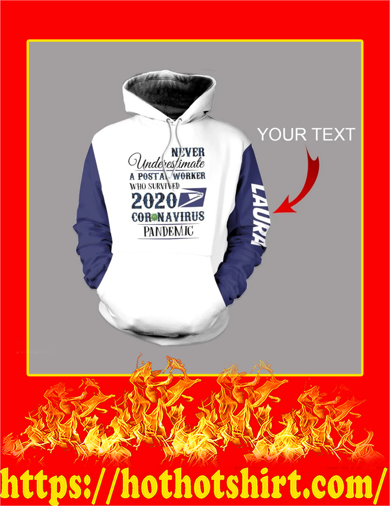 Personalized Custom Name Never Underestimate A Postal Worker 3d Hoodie - Detail