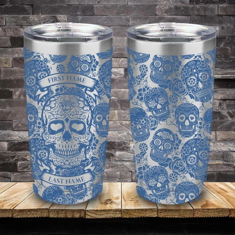 Personalized Custom Name Skull Tumbler - Blue