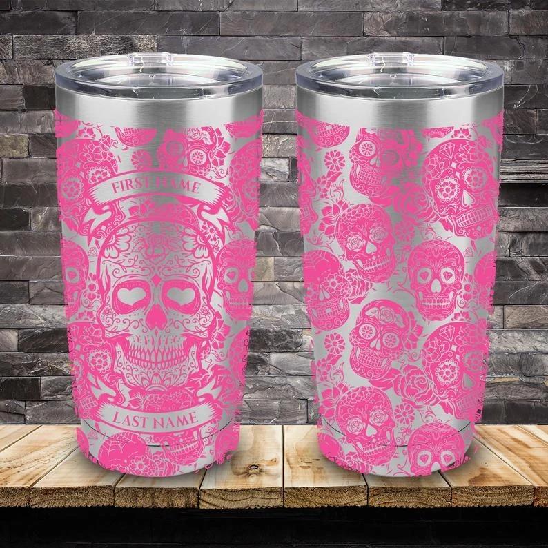 Personalized Custom Name Skull Tumbler - Pink