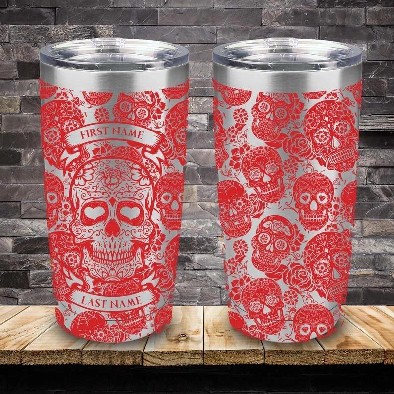 Personalized Custom Name Skull Tumbler - Red