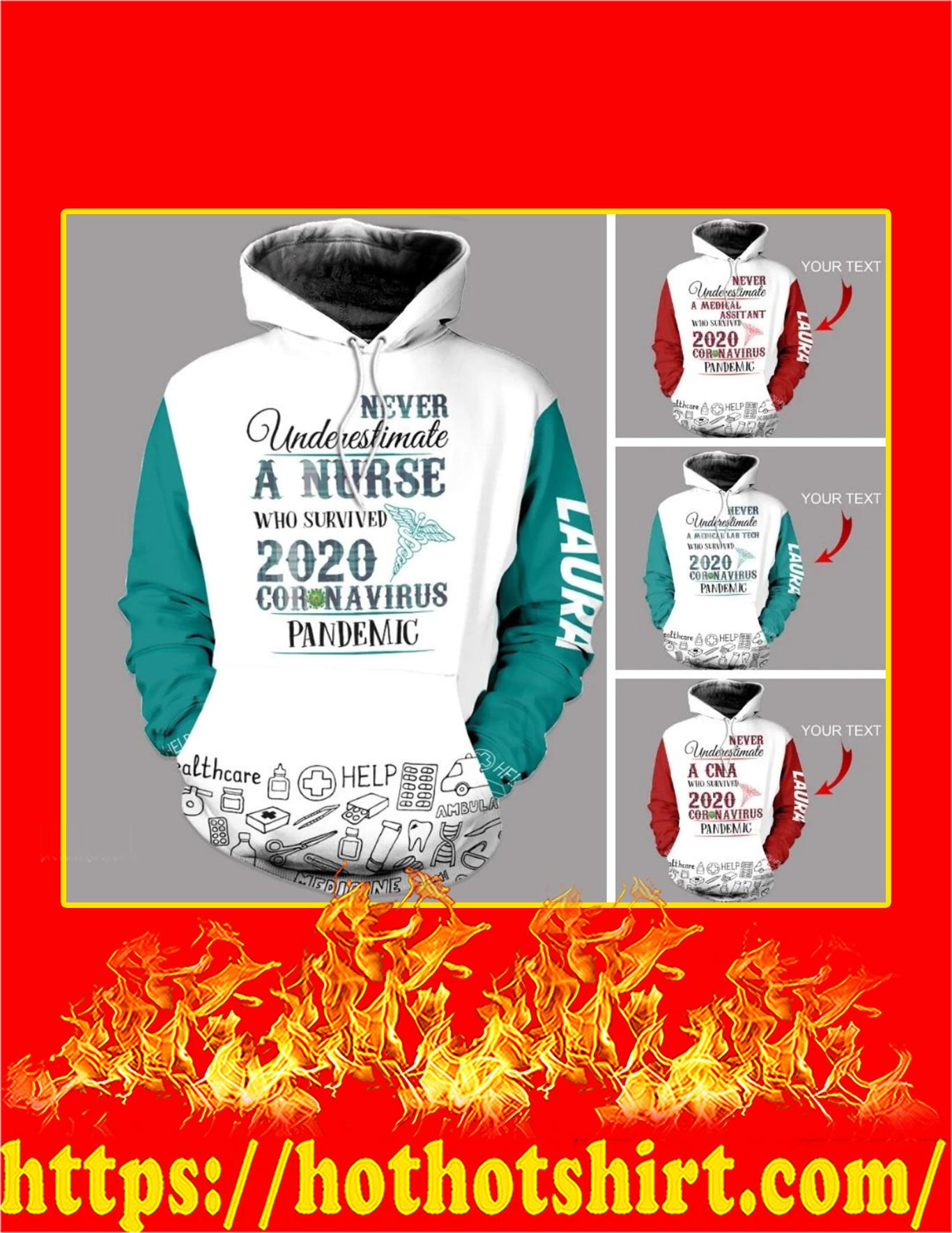 Personalized Never Underestimate A CNA Coronavirus Custom Name 3D Hoodie