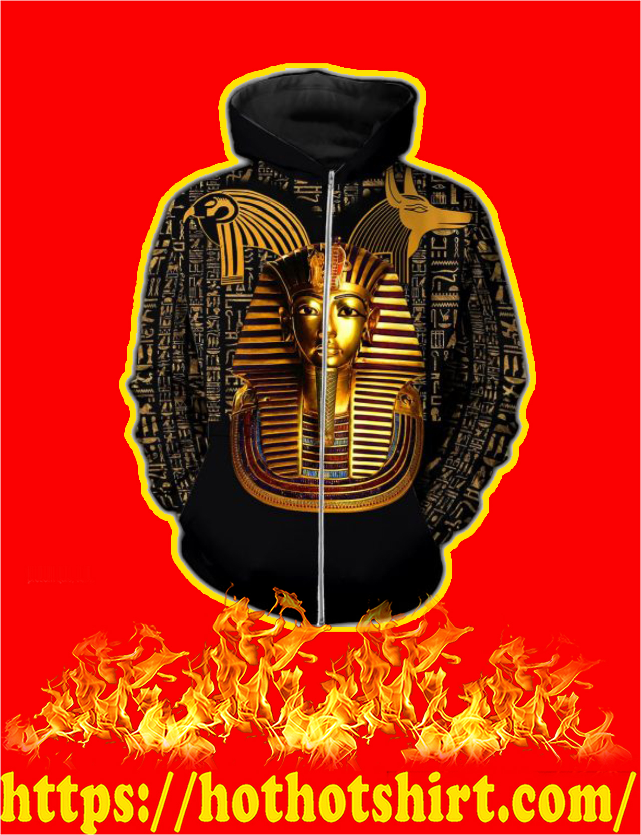 Pharaoh Ancient Egypt 3D All Over Printed Zip Hoodie