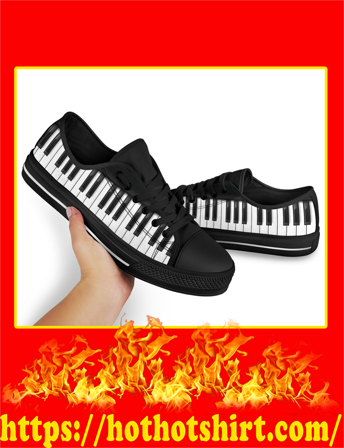 Piano Keyboard Shortcut Low Top Shoes- pic 2
