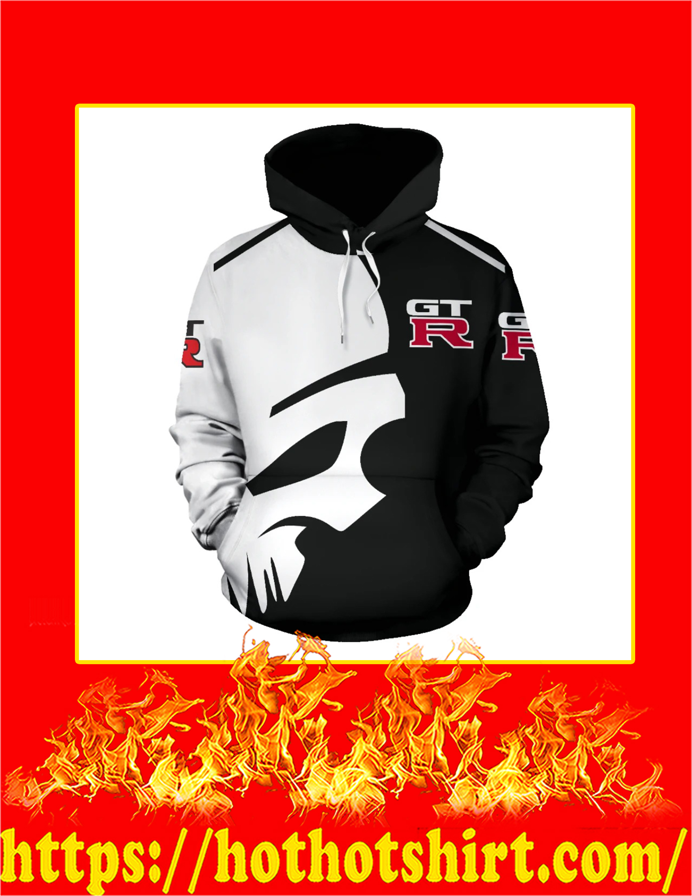 Punisher Skull Nissan GT-R 3d Hoodie - Front