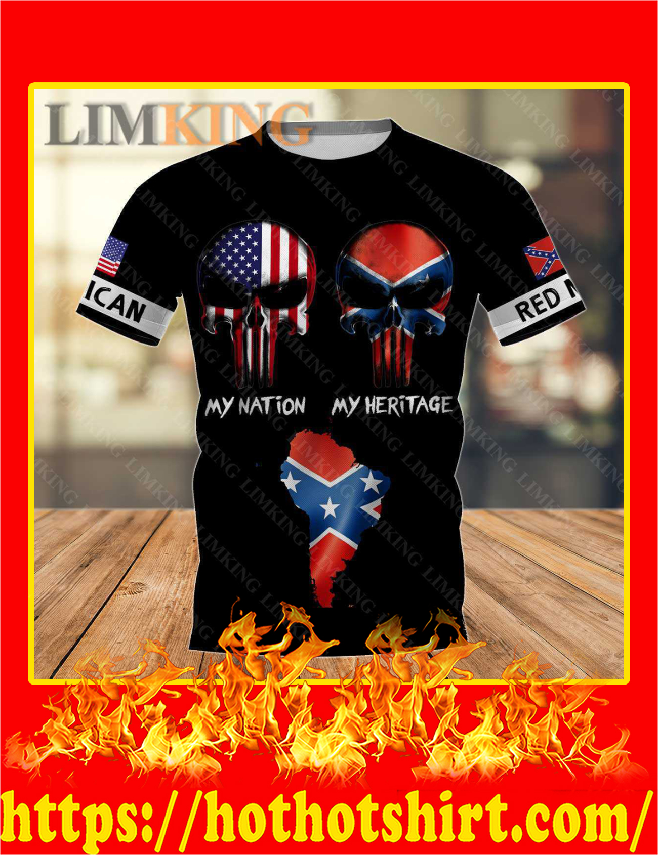 Redneck American Punisher Skull My Nation My Heritage 3D T-Shirt