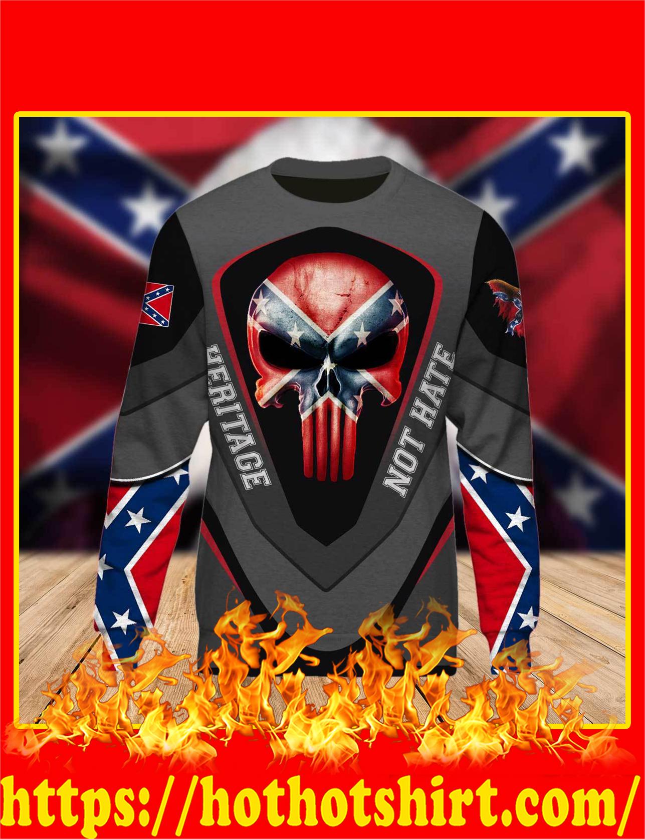 Redneck Punisher Skull Heritage Not Hate 3d Long Sleeved Shirt