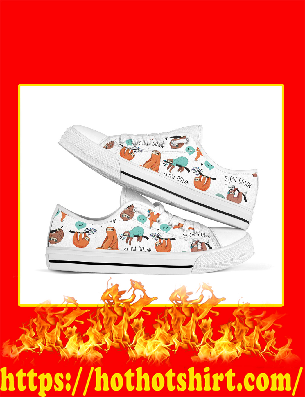 Slow Down Sloth Low Top Shoes- pic 1